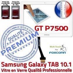 Blanche Assemblée LCD Tactile P7500 Verre en B 10 Prémonté Samsung 10.1 Ecran TAB GT-P7500 Supérieure GT Vitre Galaxy Qualité PREMIUM Adhésif