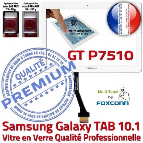 Samsung Galaxy TAB GT-P7510 10 B Supérieure Blanche Qualité Adhésif Assemblée Verre 10.1 Ecran Tactile PREMIUM Prémonté P7510 en LCD Vitre GT