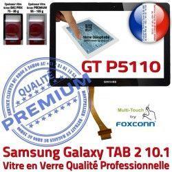 P5110 TAB 10.1 GT-P5110 TAB2 Assemblée N Qualité Samsung Tactile Vitre 2 Supérieure Ecran Adhésif Noire LCD PREMIUM Prémonté Verre Galaxy en GT