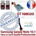 Samsung Galaxy NOTE GT-N8020 B Prémonté Verre GT en Vitre Qualité Adhésif Ecran Assemblée N8020 Supérieure Tactile PREMIUM Blanche 10.1 LCD