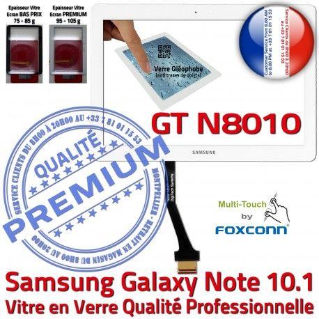Samsung Galaxy NOTE GT-N8010 B Verre Supérieure N8010 en Assemblée GT LCD Blanche Vitre Adhésif Prémonté Qualité Ecran 10.1 Tactile PREMIUM