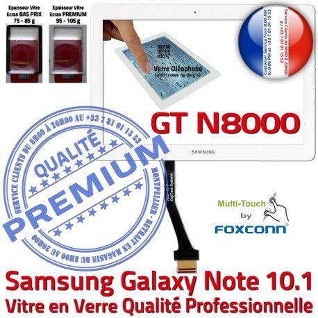 Samsung Galaxy NOTE GT-N8000 Whi Vitre PREMIUM 10.1 Supérieure Tactile Adhésif Qualité Assemblée N8000 LCD Blanche Verre Ecran Prémonté GT en