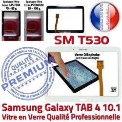 Adhésif Samsung Galaxy Supérieure Prémonté PREMIUM Qualité Vitre SM-T530 Tab4 TAB4 LCD Ecran B 10.1 Tactile Verre Blanche en Assemblée