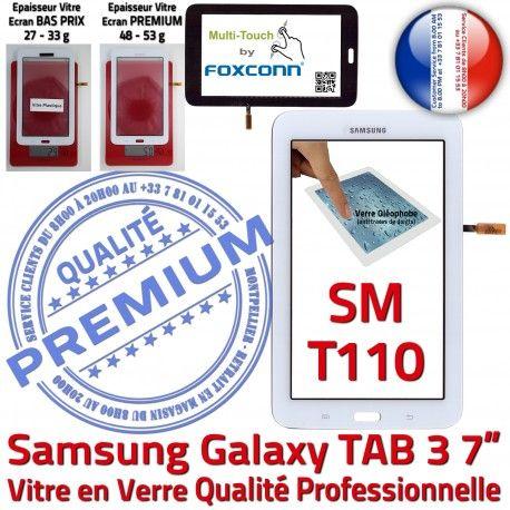 Samsung Galaxy SM-T110 Tab3 B Qualité Vitre Verre LCD Prémonté Ecran 7 Tactile PREMIUM en TAB3 Blanche Assemblée Supérieure Adhésif