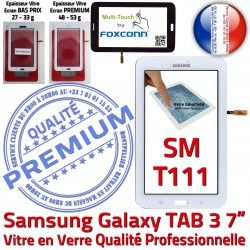 Prémonté Blanche SM-T111 Qualité B LCD Adhésif Tab3 7 Vitre Tactile Verre Ecran en TAB3 Supérieure PREMIUM Galaxy Samsung Assemblée