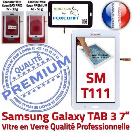 Samsung Galaxy SM-T111 Tab3 B Prémonté Blanche Supérieure Adhésif Vitre LCD TAB3 PREMIUM Assemblée Tactile Qualité en 7 Verre Ecran