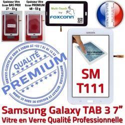 en Verre LCD Vitre PREMIUM Qualité Blanche Galaxy LITE Samsung Tab3 Assemblée Ecran Adhésif Supérieure Blanc TAB3 T111 SM-T111 Tactile SM Prémonté