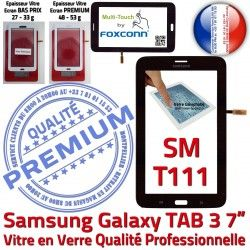 7 Noire Vitre Tactile Samsung Ecran N Tab3 Galaxy Qualité LCD Assemblée Supérieure en PREMIUM Prémonté SM-T111 Verre TAB3 Adhésif