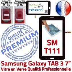 Ecran Adhésif Qualité Tactile Samsung PREMIUM Assemblée SM-T111 Galaxy Vitre LITE Tab3 Noire LCD Verre Supérieure Noir Prémonté SM en T111 TAB3