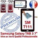 TAB3 LITE SM T111 Noir en Noire 7 Galaxy Supérieure Adhésif Qualité Assemblée Prémonté Verre Samsung SM-T111 LCD Tactile Vitre PREMIUM Ecran