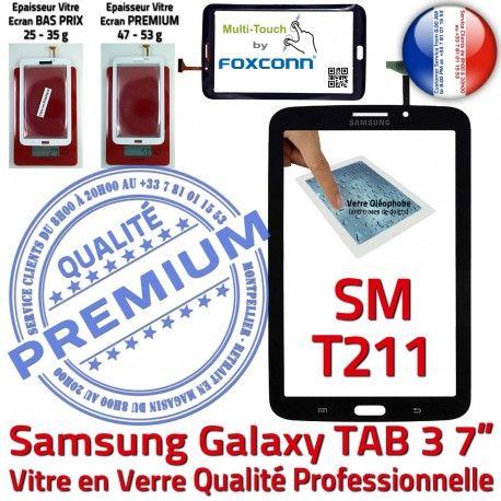 Samsung Galaxy SM-T211 Tab3 N Prémonté Assemblée PREMIUM LCD en TAB3 Tactile Qualité Adhésif Verre Supérieure Ecran Noire Vitre 7