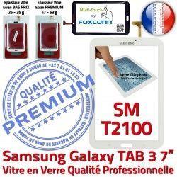 Ecran TAB3 Vitre Galaxy Assemblée Prémonté Qualité TAB 7 3 T2100 LCD SM-T2100 PREMIUM Verre Adhésif Samsung SM Tactile B en Blanche Supérieure