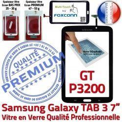 N Tab3 7 Vitre Verre Supérieure Prémonté TAB3 LCD Galaxy Qualité GT-P3200 Samsung Assemblée en Tactile GT P3200 Ecran Noire PREMIUM Adhésif