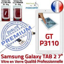 P3110 Vitre Adhésif inch Supérieure Galaxy LCD 7 Blanc PREMIUM GT-P3110 Verre Assemblée Tactile Ecran Qualité Blanche GT Samsung Prémonté TAB2