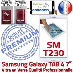 inch TAB4 Ecran Blanche SM-T230 7 Galaxy Samsung B LCD Supérieure Tactile Adhésif Assemblée Prémonté Verre PREMIUM Vitre Qualité