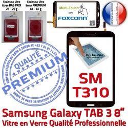 Ecran TAB3 Supérieure Samsung Vitre Galaxy pouces en Prémonté Verre N Assemblée Noire Coller 8 Qualité Tactile à SM-T310 PREMIUM