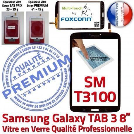Samsung Galaxy SM-T3100 TAB3 N Assemblée 8 Verre Qualité Supérieure inch à Coller Ecran Vitre Tactile Prémonté Noire PREMIUM en