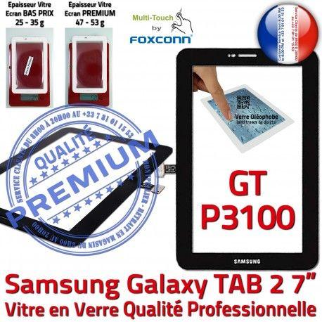 GT-P3100 TAB2 Noir Galaxy LCD Verre Supérieure Adhésif 7 inch Noire P3100 Ecran 2 Qualité TAB GT Vitre Tactile Assemblée PREMIUM Samsung Prémonté