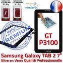 TAB2 GT P3100 Noir Tactile Noire Prémonté Samsung LCD GT-P3100 Adhésif PREMIUM 7 Qualité Vitre Galaxy inch Supérieure en Assemblée Verre Ecran