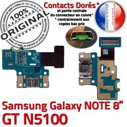 N5100 Contacts Samsung Chargeur Charge USB Nappe de Qualité NOTE ORIGINAL Doré Micro GT Connecteur Galaxy OFFICIELLE GT-N5100 Réparation C