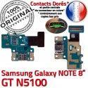 Samsung Galaxy GT-N5100 NOTE C MicroUSB Nappe Contact Doré Charge Chargeur Qualité de Connecteur N5100 GT Réparation ORIGINAL OFFICIELLE