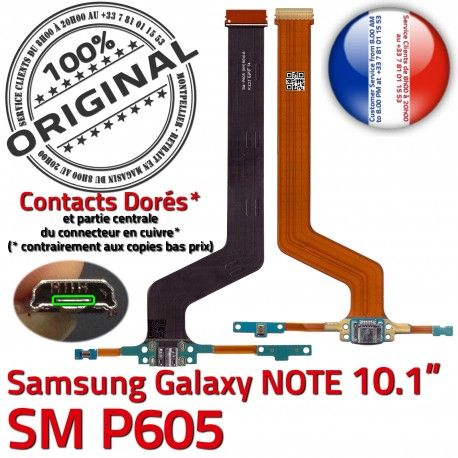 Samsung Galaxy SM-P605 NOTE C Nappe P605 MicroUSB Qualité SM Doré Pen ORIGINAL Connecteur Charge de Chargeur OFFICIELLE Réparation Contact