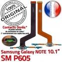 Samsung Galaxy NOTE SM-P605 C Qualité Doré Nappe OFFICIELLE Connecteur ORIGINAL Réparation Contacts de MicroUSB Chargeur Charge SM P605
