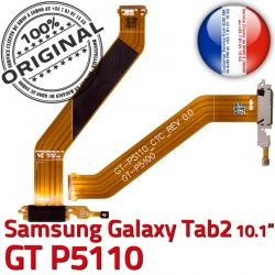TAB Samsung OFFICIELLE GT MicroUSB Galaxy GT-P5110 de Contacts Réparation Connecteur Ch Dorés Chargeur Qualité P5110 TAB2 ORIGINAL Nappe 2 Charge