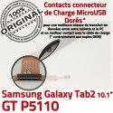 GT-P5110 Micro USB TAB2 Charge Galaxy 2 Nappe Samsung Dorés Contacts MicroUSB Qualité Connecteur OFFICIELLE ORIGINAL Chargeur de GT Réparation P5110 TAB