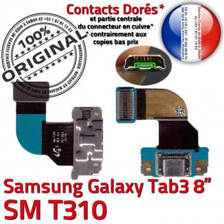 Samsung Galaxy TAB 3 SM-T310 Ch TAB3 de Dorés Qualité MicroUSB OFFICIELLE Contacts Nappe Réparation Connecteur ORIGINAL Chargeur Charge