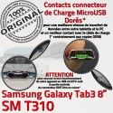 SM-T310 Micro USB TAB3 Charge Samsung Réparation de SM Galaxy T310 TAB ORIGINAL Contacts Dorés Chargeur MicroUSB Connecteur OFFICIELLE Qualité Nappe 3