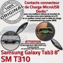 Samsung Galaxy SM-T310 TAB3 Ch Dorés Connecteur 3 Charge ORIGINAL MicroUSB Qualité Contacts Réparation de Chargeur TAB T310 OFFICIELLE Nappe SM