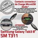 SM-T311 Micro USB TAB3 Charge Contacts Dorés Chargeur Connecteur SM Réparation Qualité Samsung 3 Galaxy MicroUSB Nappe OFFICIELLE ORIGINAL TAB T311 de