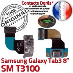 Réparation Samsung Dorés de TAB3 Charge 3 Contacts Connecteur Qualité SM-T3100 MicroUSB Galaxy TAB Ch Nappe OFFICIELLE ORIGINAL Chargeur