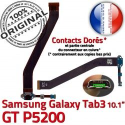 3 de Dorés OFFICIELLE Nappe Samsung MicroUSB Qualité Galaxy ORIGINAL TAB Chargeur Connecteur Charge Contacts Ch GT-P5200 Réparation TAB3