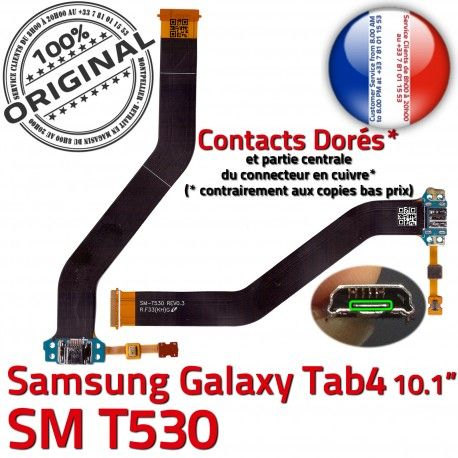 SM-T530 Micro USB TAB4 Charge Dorés ORIGINAL de 4 Galaxy MicroUSB Chargeur TAB SM OFFICIELLE Samsung Réparation Qualité Contacts Connecteur T530 Nappe
