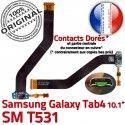 Samsung Galaxy SM-T531 TAB4 Ch OFFICIELLE Qualité 4 Charge Dorés Connecteur ORIGINAL Nappe TAB Chargeur SM de T531 Réparation Contacts MicroUSB