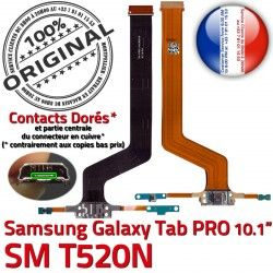 TAB Connecteur Contact OFFICIELLE C Micro PRO ORIGINAL SM Charge Samsung de SM-T520N Galaxy Qualité T520N MicroUSB Chargeur Nappe Réparation USB Doré