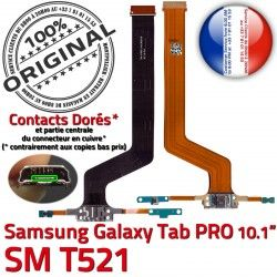de MicroUSB ORIGINAL T521 Samsung SM PRO Connecteur OFFICIELLE Contact TAB SM-T521 Doré Qualité C Nappe Galaxy Réparation Charge Chargeur