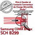 Samsung CDMA Bronx SCH B299 C souder Dock de Chargeur Micro charge Flex Connecteur Pins Dorés Prise Portable à ORIGINAL USB Connector