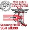 Samsung Player Ultra SGH s8300 C de Micro souder Dorés Pins Connecteur charge ORIGINAL USB Connector Dock Chargeur à Flex Prise