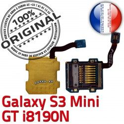 Connector Carte S3 Mini Read i8190N SD Lecteur Galaxy Samsung Qualité Memoire µSD Contact Nappe Micro-SD ORIGINAL Doré Connecteur GT