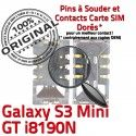 Samsung Galaxy S3 Mini GT i8190N Card Dorés Connector SLOT Connecteur souder à Carte SIM ORIGINAL Reader Pins Contacts Lecteur