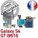 Samsung Galaxy S4 GT i9515 S Connector Qualité Contacts Micro-SD Lecteur Carte ORIGINAL Dorés Nappe Reader SIM Connecteur Memoire