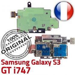 Nappe Qualité S i747 Samsung Connector Micro-SD Memoire Reader Connecteur GT SIM ORIGINAL Carte Galaxy Contacts Dorés Lecteur S3