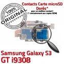 Samsung Galaxy S3 GT i9308 S ORIGINAL Connector Contacts SIM Lecteur Qualité Connecteur Memoire Reader Micro-SD Dorés Carte Nappe