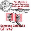 Samsung Galaxy S3 GT i747 C Prise Flex à Connecteur charge Dorés Connector USB Chargeur Dock de Pins souder ORIGINAL Micro