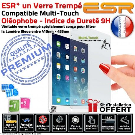 Verre Trempé Apple iPad A1538 Ecran UV Filtre Vitre Bleue Protection ESR Multi-Touch Oléophobe Lumière Anti-Rayures Anti-Chocs