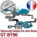 Samsung S4 Min GTi9190 C Galaxy ORIGINAL Connecteur GT MicroUSB Prise OFFICIELLE Chargeur Charge RESEAU Qualité Microphone Antenne Nappe 9190