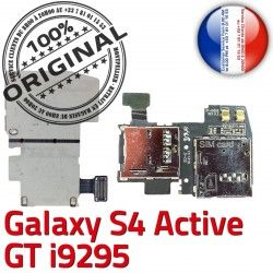Galaxy Activ Nappe GT i9295 Qualité Lecteur ORIGINAL S4 Reader Connector Memoire Carte S Samsung Dorés Micro-SD Contacts SIM Connecteur